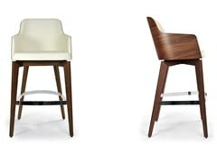 - Upholstered leather counter stool with armrests MARLÈNE WOOD | Counter stool - Riccardo Rivoli Design