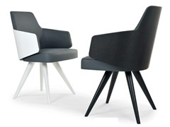 - Upholstered chair with armrests MIA WOOD CONE | Chair with armrests - Riccardo Rivoli Design