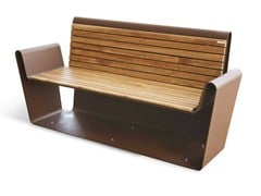 - Corten™ Bench with armrests CLUB A-B | Bench - Metalco