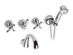 - 4 hole wall-mounted bathtub set with hand shower REVIVAL   Wall-mounted bathtub set - Daniel Rubinetterie