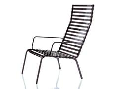 - High-back vitrified enamelled steel armchair with armrests STRIPED | Armchair with armrests - Magis