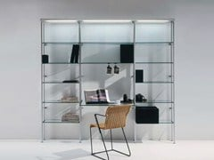 - Wall-mounted shelving unit with built-in lights CRISTALINA | Shelving unit with built-in lights - BD Barcelona Design