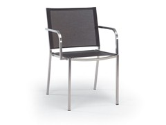 - Stackable stainless steel garden chair with armrests HELIX | Chair with armrests - FISCHER MÖBEL