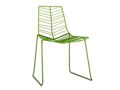 - Sled base steel garden chair LEAF | Stackable garden chair - Arper