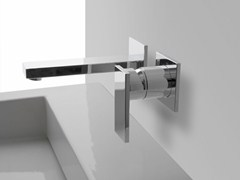 - 2 hole wall-mounted washbasin tap with plate SOLAR | Wall-mounted washbasin tap - Graff Europe West