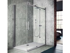 - Corner shower cabin with tray with sliding door FLUIDA | Shower cabin with tray - Glass 1989