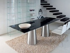 - Rectangular crystal and stainless steel table TOTEM TWO BASES - SOVET ITALIA