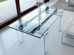 - Contemporary style extending rectangular crystal dining table GHOST | Glass table - ITALY DREAM DESIGN - Kallisté