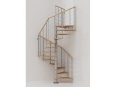 Scala a chiocciola modulare in acciaio inox e legno GENIUS 010 + 2:Easy - Fontanot - Albini & Fontanot