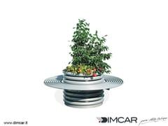 - Metal Flower pot Fioriera Azalea con panca circolare - DIMCAR