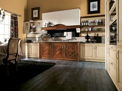- Lacquered linear walnut fitted kitchen IL CANTO DEL FUOCO | Fitted kitchen - Martini Mobili