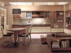 - Lacquered linear walnut fitted kitchen with island CONVIVIO | Walnut kitchen - Martini Mobili