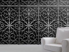 Trompe l'oeil fabric wallpaper BLACK WROUGHT METAL GATE - Mineheart