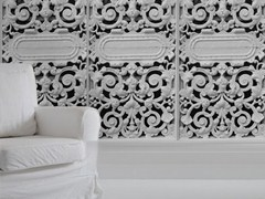 Trompe l'oeil vinyl wallpaper WHITE CAST METAL GATE - Mineheart