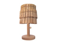 Lampe de table fait main en bois à bras fixe PEGGY SUE TABLE LAMP - Mineheart