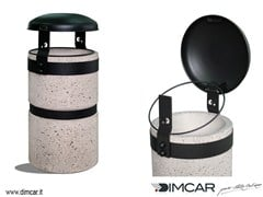- Outdoor Concrete and Cement-Based Materials waste bin with lid Luna finitura grigia - DIMCAR
