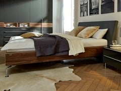 - Walnut double bed with upholstered headboard METIS PLUS | Walnut bed - Hülsta-Werke Hüls