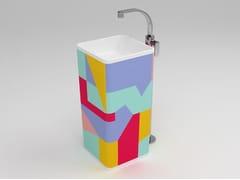 - Freestanding square single washbasin MONOWASH AZ - CERAMICA FLAMINIA
