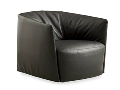- Upholstered leather armchair SANTA MONICA | Leather armchair - Poliform