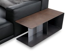 - Low rectangular tanned leather coffee table for living room PARIS-SEOUL | Tanned leather coffee table - Poliform