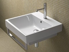 - Rectangular wall-mounted ceramic washbasin ZERO 50 | Rectangular washbasin - CERAMICA CATALANO