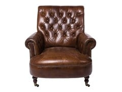 Upholstered armchair LOW CIGAR | Leather armchair - KARE-DESIGN
