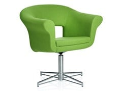 - Guest chair with 4-spoke base with armrests CUBA | Easy chair with 4-spoke base - Johanson Design