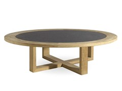 - Low Round teak garden side table SIENA | Round garden side table - MANUTTI