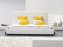 - Upholstered double bed with high headboard SQUARING ALTO - Bonaldo