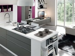 - Wooden fitted kitchen without handles ESSENZA | Wooden kitchen - Cucine Lube