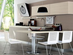 - Wooden fitted kitchen without handles ESSENZA | Fitted kitchen - Cucine Lube