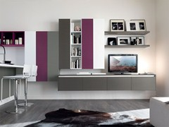 - Sectional lacquered storage wall ESSENZA | Storage wall - Cucine Lube