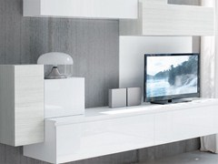 - Sectional wall-mounted lacquered storage wall ESSENZA | Sectional storage wall - Cucine Lube