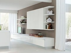 - Sectional wall-mounted lacquered wooden storage wall ESSENZA | Wooden storage wall - Cucine Lube