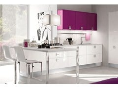 Wooden fitted kitchen with handles MARTINA | Kitchen with handles - Cucine Lube