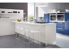Wooden fitted kitchen with handles MARTINA | Lacquered kitchen - Cucine Lube