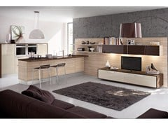 Lacquered wooden fitted kitchen with handles MARTINA | Wooden kitchen - Cucine Lube