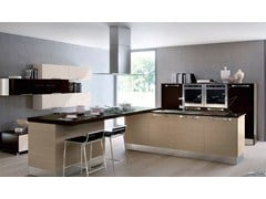 Wooden fitted kitchen with handles MARTINA | Fitted kitchen - Cucine Lube