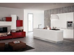 Wooden fitted kitchen with island with handles MARTINA | Kitchen with island - Cucine Lube