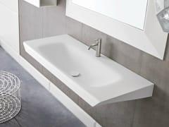 - Rectangular wall-mounted Corian® washbasin WARP | Washbasin - Rexa Design