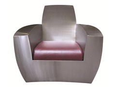 - Industrial style upholstered stainless steel armchair EASY TWO - ICI ET LÀ