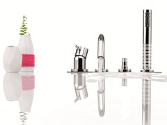 - Single handle bathtub set with diverter with hand shower DIAMETROTRENTACINQUE   4 hole bathtub set - RUBINETTERIE RITMONIO