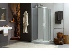 - Corner shower cabin with sliding door MORE LIVE R2S - MEGIUS