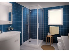 - Corner shower cabin with sliding door CLASSIC A - MEGIUS