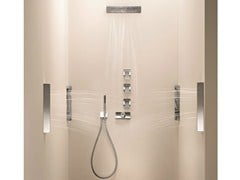 - 4 hole thermostatic shower mixer with overhead shower BELVEDERE | 4 hole thermostatic shower mixer - Fantini Rubinetti