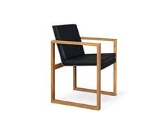 - Sled base garden chair with armrests BUTAQUE TEAK - FueraDentro