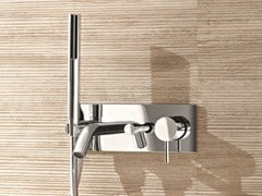 - Wall-mounted bathtub mixer with hand shower CAFÈ | Bathtub mixer with plate - Fantini Rubinetti