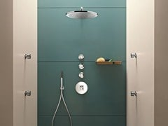 - 4 hole thermostatic shower mixer with hand shower RIVIERA | 4 hole thermostatic shower mixer - Fantini Rubinetti