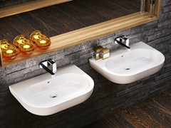 - Countertop wall-mounted ceramic washbasin with overflow PASS 62 | Wall-mounted washbasin - CERAMICA FLAMINIA