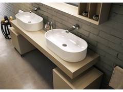 - Countertop oval ceramic washbasin PASS | Oval washbasin - CERAMICA FLAMINIA